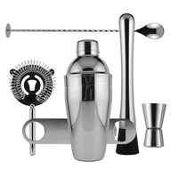 Cocktail Shaker & Bar Utensil Kit, Chrome Gift Set