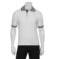 Chefworks Polo Shirt White with Check Trim