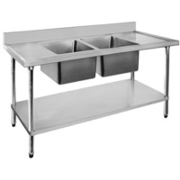 Double Bowl Centre Sink 2400x600mm Undershelf & Splashback Stainless Top