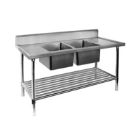 Double Bowl Centre Sink Bench 1200x700mm Pot Shelf & Full Stainless