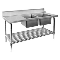 Double Bowl Dishwasher Inlet Right 1800mm Pot Shelf & Full Stainless