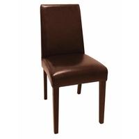 Bolero Faux Leather Dining Chairs, Dark Brown, Set of 2