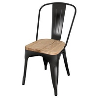 Bolero Steel Dining Chairs Wooden Seat Black Pack of 4