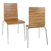 Bolero Basic Wooden Dining Chairs, ZebraWood Set of 4
