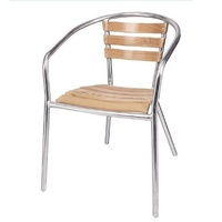Bolero Aluminium and Ash Wood Stackable Chairs, Set of 4