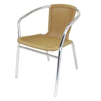 Bolero Aluminium and Wicker Stackable Chairs, Natural Set of 4