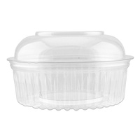 Clear PET Container Hinged Dome Lid Round 24oz 710ml Pkt of 50