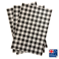 Greaseproof Paper Gingham Black 200x300mm Pkt of 200